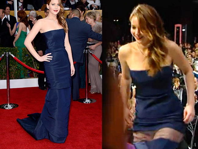 Girls have a big wardrobe malfunction.Oops! Jennifer Lawrence doesn't have much luck when it comes to falling over and her wardrobe it seems. Her Dior dress ripped on her way up to claim her Screen Actors Guild award in 2013