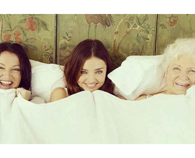 Miranda Kerr gets Mum and Grandma involved to show off three generations of awesome genes.