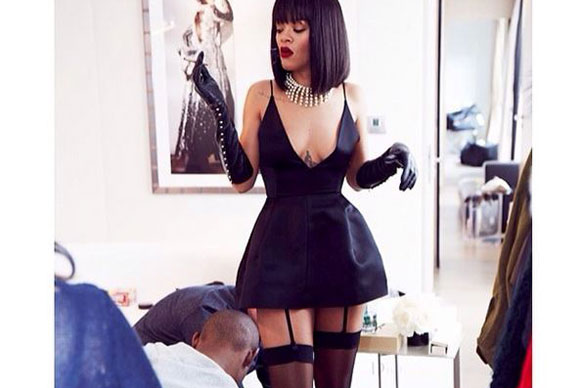 Rihanna's uniform of choice? Corsets and Fishnets and suspenders, of course...