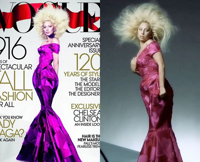 It seems Photoshop drama follows Gaga around like flies to a meat dress, as Vogue were also criticised for reducing her waist on this September 2012 cover.