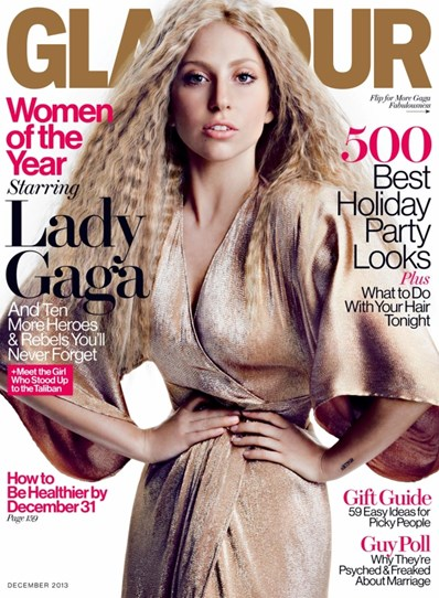 "On this Glamour magazine cover from December last year, Gaga said, ""I felt my skin looked too perfect. I felt my hair looked too soft. I do not look like this when I wake up in the morning."""