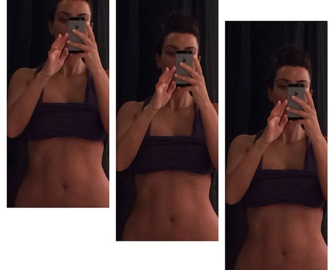 """Just finished my morning workout."" Wow, Kim Kardashian is in seriously toned form for her upcoming wedding. It's just what we wanted to see as we finished off our banana bread and hot chocolate for breakfast this morning. Celebrity fitness here we come"