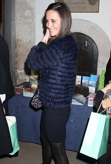Pippa dons a bodycon dress and furry coat for a night out in 2012 – and yep, her bum is still looking perky.