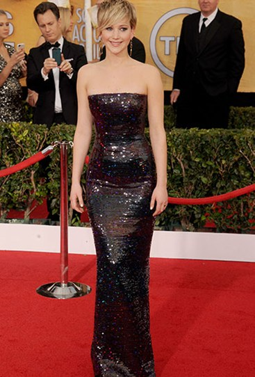 The form-fitting sparkly Dior dress JLaw wore to the Screen Actors Guild Awards this year was a winner.