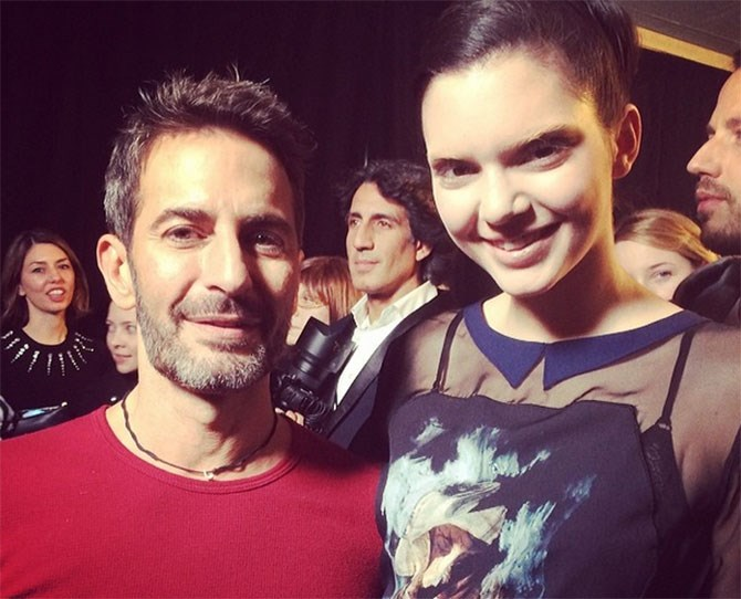 Here she is backstage with Marc Jacobs, whose show was the first Kendall walked in last Fashion Week.